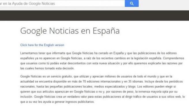 Mensaje de Google en la web de noticias