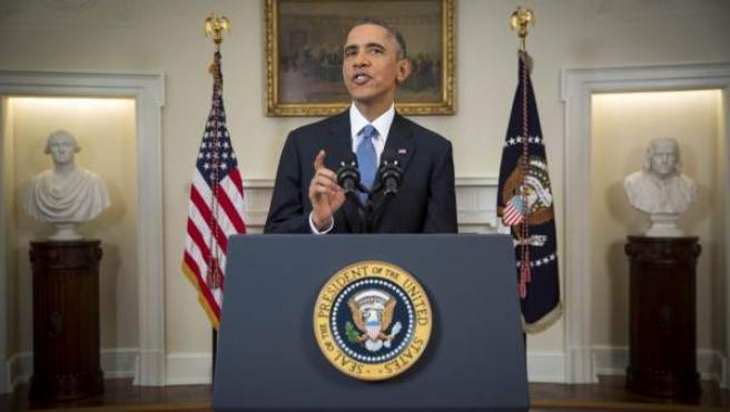 El presidente estadounidense Barack Obama se dirige a la nación desde la Casa Blanca, Washington, Estados Unidos hoy 17 de diciembre de 2014.