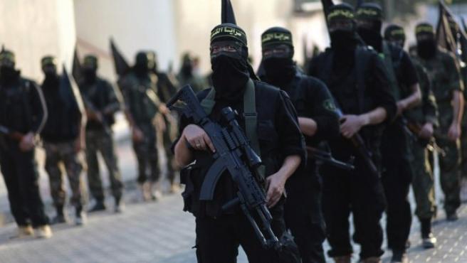 Marcha de los militantes de la Yihad Islámica en Gaza