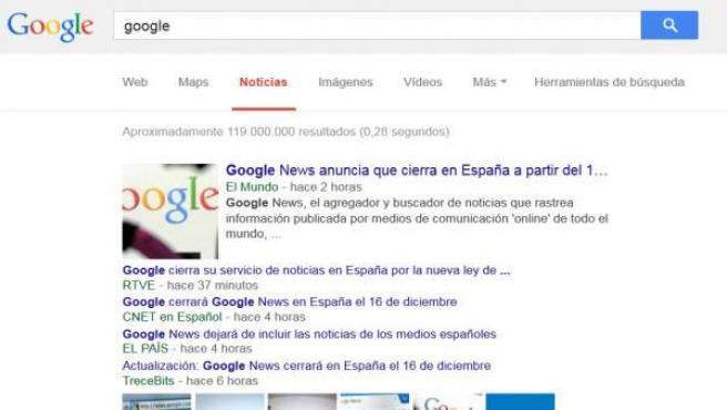 Google News expone las noticias sobre su propio cierre días antes de su fin en España.