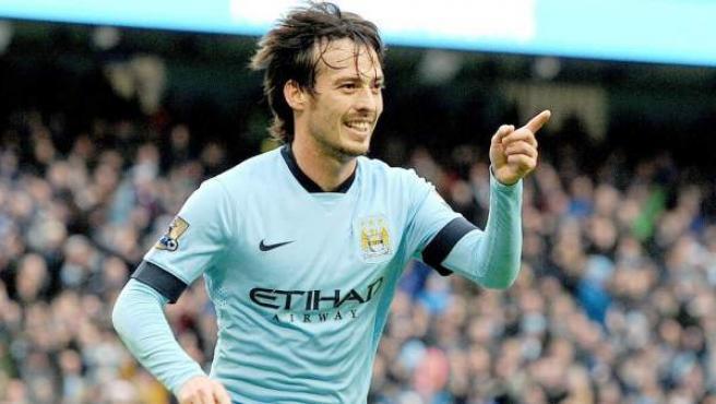 El delantero español del Manchester City David Jiménez Silva.