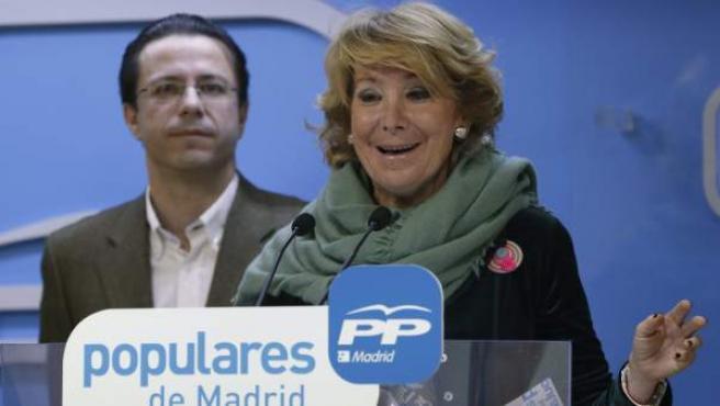 La presidenta del PP en Madrid durante la rueda de prensa posterior a la reunión del Comité de Dirección del partido.