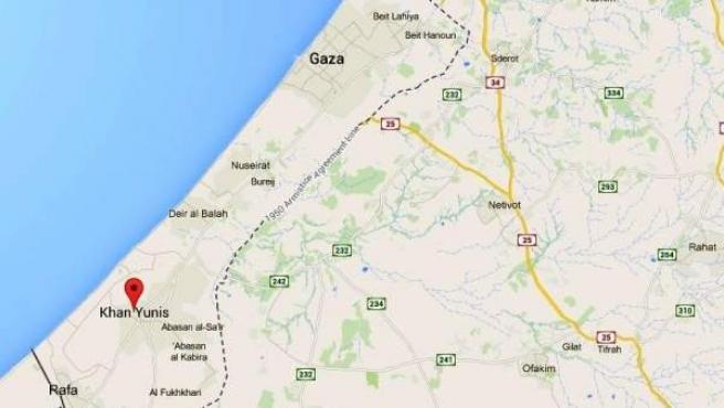 Khan Yunis, ciudad situada en el suroeste de la Franja de Gaza.