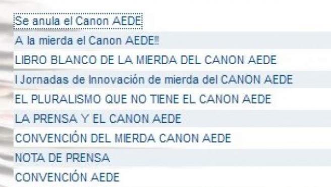 Ataque hacker a la web de Asociación de Editores de Diarios Españoles con motivo del canon AEDE.