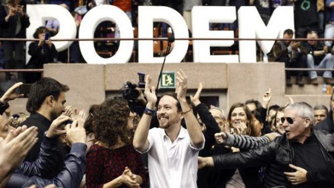 Pablo Iglesias, en su aparición en Barcelona para dar su primer mitin como secretario general de Podemos.