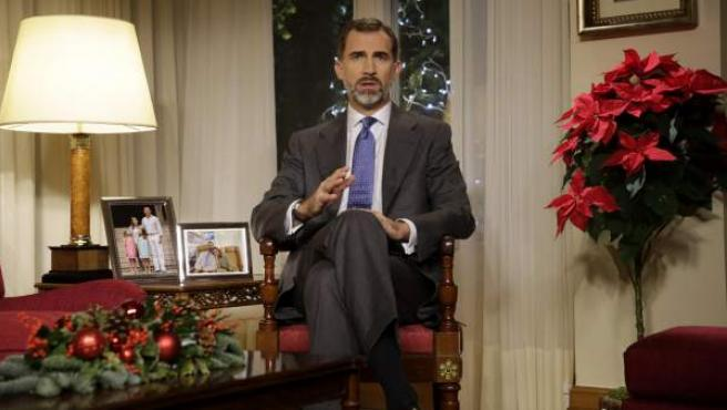 Felipe VI durante el mensaje navideño.
