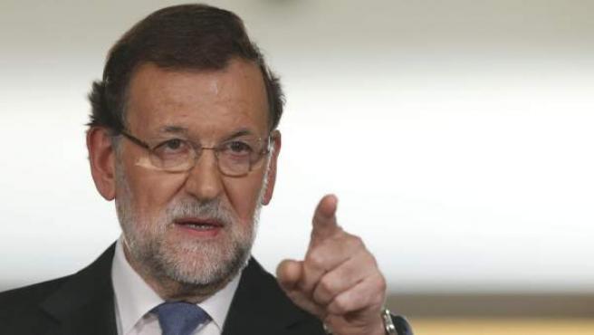 El presidente del Gobierno, durante la rueda de prensa que ha ofrecido en el Palacio de la Moncloa, tras el último Consejo de Ministros del año.