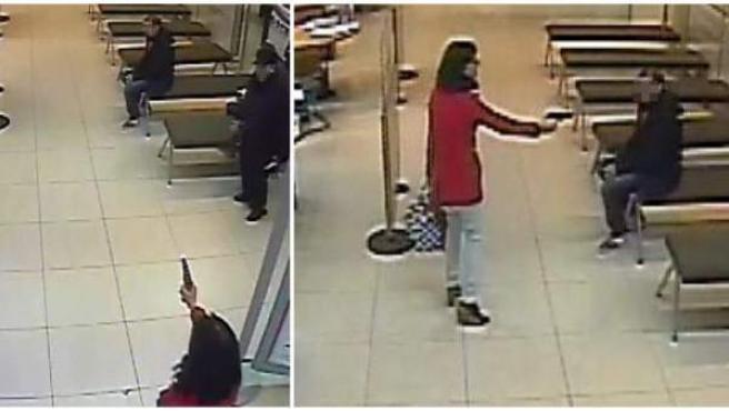Fotografías facilitadas por los Mossos d'Esquadra, de unas imágenes de una cámara de seguridad en la que aparece una mujer que pretendía atracar en una sucursal bancaria de Santa Coloma de Gramenet (Barcelona).