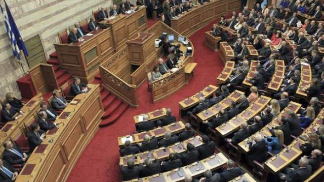 Vista general del Parlamento en Atenas (Grecia)