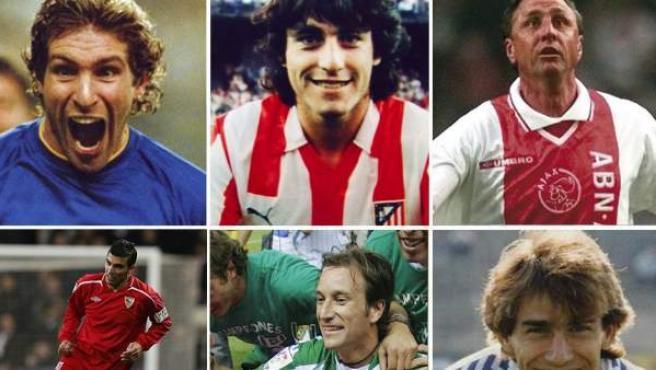 Martín Palermo (Boca Juniors), Paolo Futre (Atlético de Madrid), Johan Cruyff (en la imagen, en un partido de veteranos del Ajax), José Antonio Reyes (Sevilla), Alfonso Pérez Muñoz (Betis) y Martín Vázquez (Real Madrid).