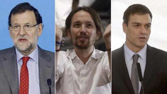 Mariano Rajoy, Pablo Iglesias y Pedro Sánchez.