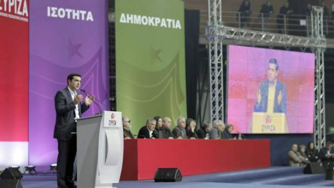 El líder de Syriza, Alexis Tsipras, durante el arranque de campaña este sábado en Grecia.