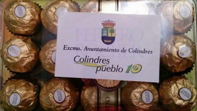 Bombones dedicados del Ayuntamiento de Colindres