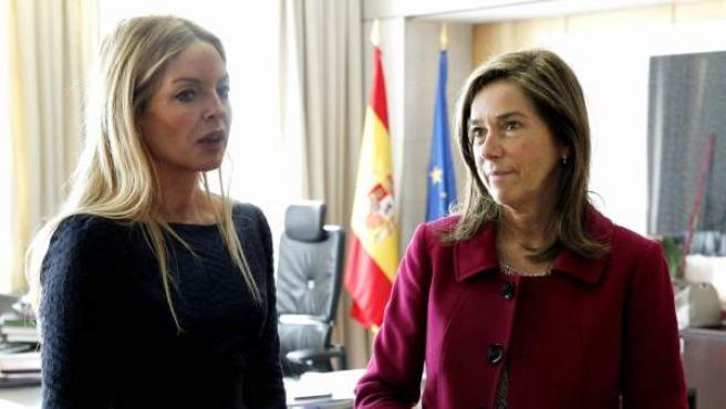 La exministra de Sanidad , Servicios Sociales e Igualdad Ana Mato (dcha), durante la entrevista con la presidenta del Observatorio contra la Violencia Doméstica y de Género, María Ángeles Carmona.