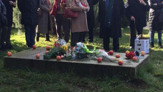 Manzanas y flores como homenaje a Isaac Díaz Pardo en el tercer año de su muerte