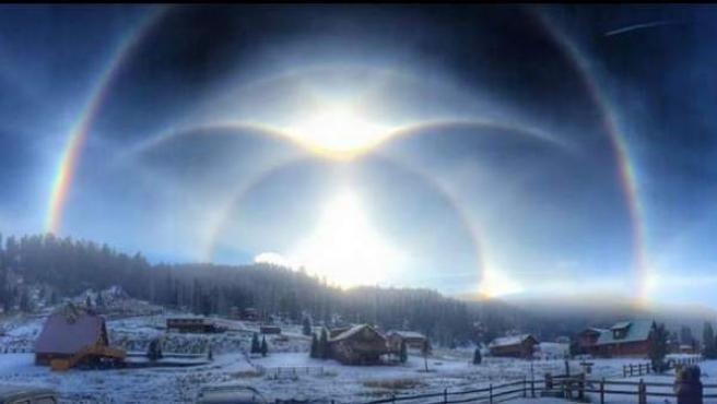 Imagen difundida por el Servicio Nacional de Meteorología de Estados Unidos de un arco circunhorizontal en Nuevo Mexico, un espectacular fenómeno producido por las bajas temperaturas.