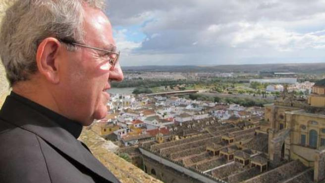 El presidente del Cabildo, Manuel Pérez Moya, observa la Catedral desde su torre