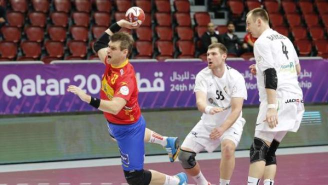 Julen Aguinagalde transforma un gol en el España - Bielorrusia del Mundial de balonmano.