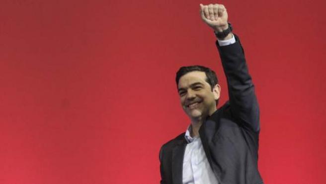El candidato de Syzira, Alexis Tsipras, en la apertura de la campaña electoral griega.