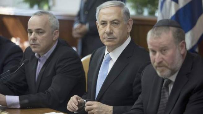 El primer ministro de Israel, Benjamin Netanyahu, en la reunión semanal de su gabinete en Tel Aviv.