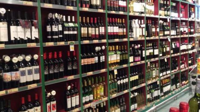 Supermercado, compra, compras, consumo, vino, vinos