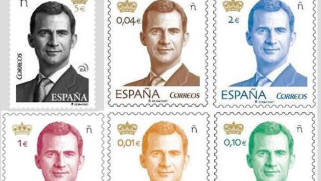 Fotografía facilitada por Correos, que ha puesto en circulación la nueva serie básica de sellos con la imagen del rey Felipe VI.