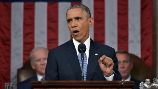 El presidente de EE UU, Barack Obama, durante el discurso sobre el Estado de la Unión.