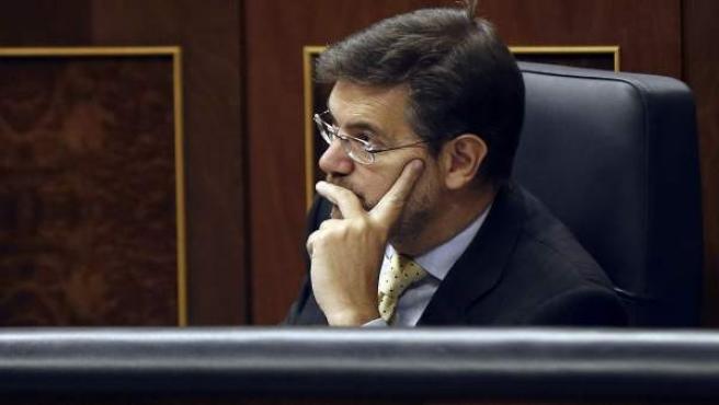 El ministro de Justicia, Rafael Catalá, durante el pleno del Congreso de los Diputados.
