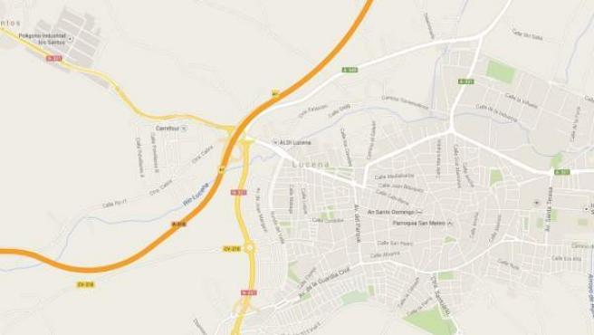 La localidad cordobesa de Lucena, localizada en un mapa de Google Maps