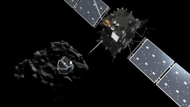 Fotografía sin fechar facilitada por la Agencia Espacial Europea (ESA) de un fotograma de la animación del módulo Philae mientras se separa de Rosetta y desciende sobre la superficie del cometa 67/P Churyumov-Gerasimenko.
