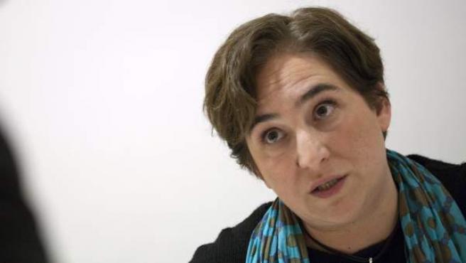 Ada Colau, durante su entrevista con 20minutos, en la sede de Guanyem Barcelona.