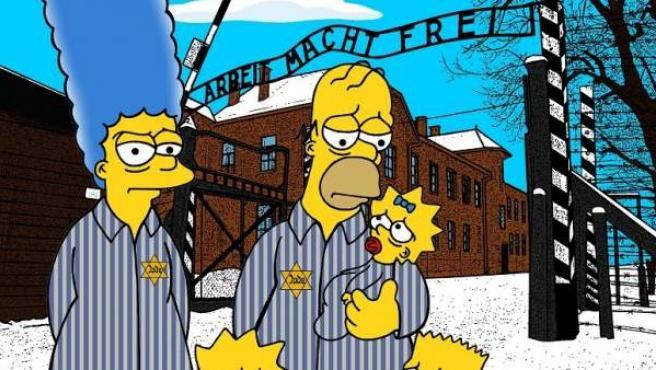 Una imagen reinterpretada de Los Simpson en Auschwitz, por Alexsandro Palombo.