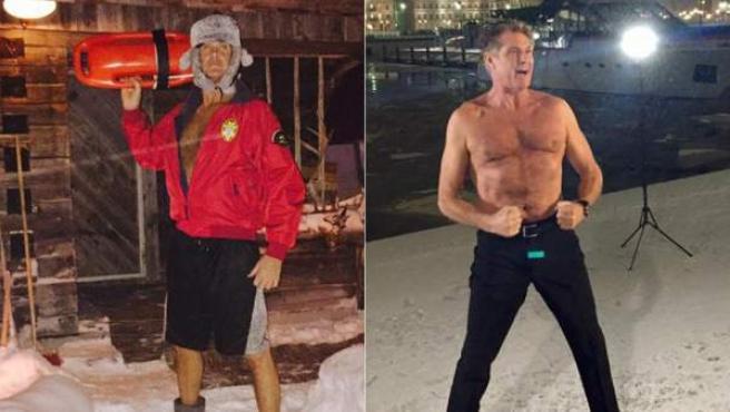 David Hasselhoff, desafiando al frío de Finlandia.