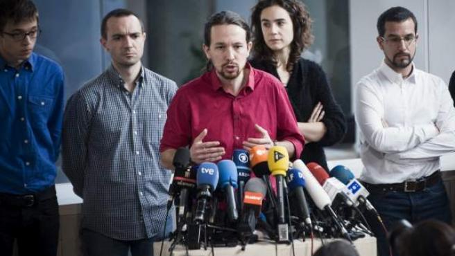 El secretario general de Podemos, Pablo Iglesias, durante la rueda de prensa que ofreció en Madrid tras la reunión del Consejo de Coordinación del partido.