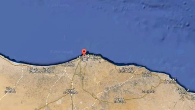 Imagen de satélite de Trípoli, la capital de Libia.