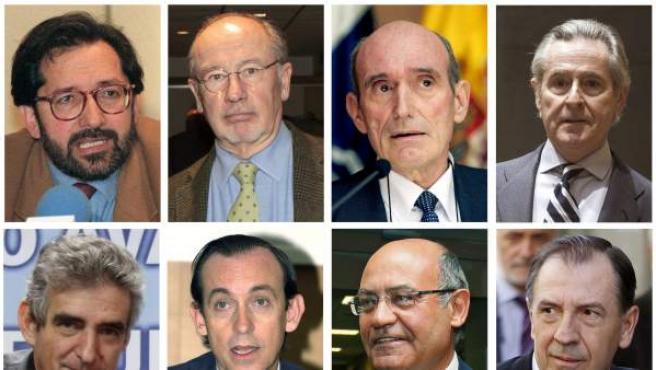"""Combo de fotografías de archivo de algunos de los consejeros y directivos con tarjetas """"opacas"""" de Caja Madrid. Sólo tres de los 86 exconsejeros y exdirectivos de la entidad con estas tarjetas no hicieron uso de ellas. Gastarón más de 15 millones de euros en gastos personales. Entre los señalados hay miembros de distintos partidos políticos (PP, PSOE, IU), de los sindicatos (UGT y CC OO) y la patronal."""