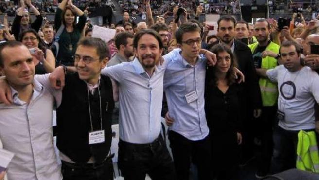 Algunos de los líderes de Podemos: Iglesias, Monedero (a su dcha) y Errejón (a su izda).