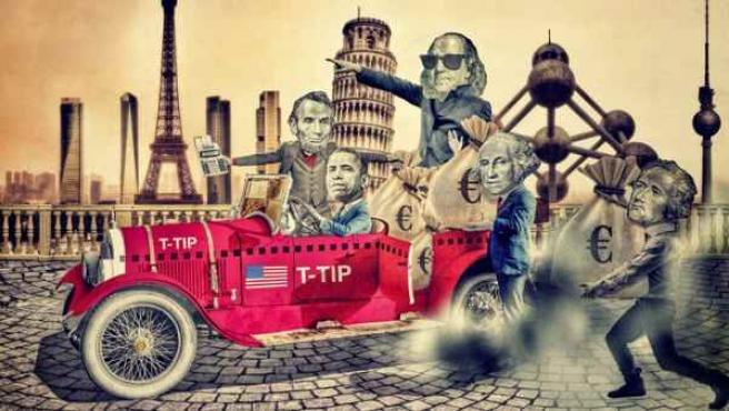 Ilustración inspirada en el TTIP, el acuerdo secreto que negocian UE y EE UU.