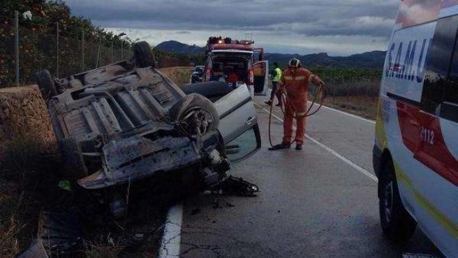 Accidente de tráfico en Canals (Valencia)