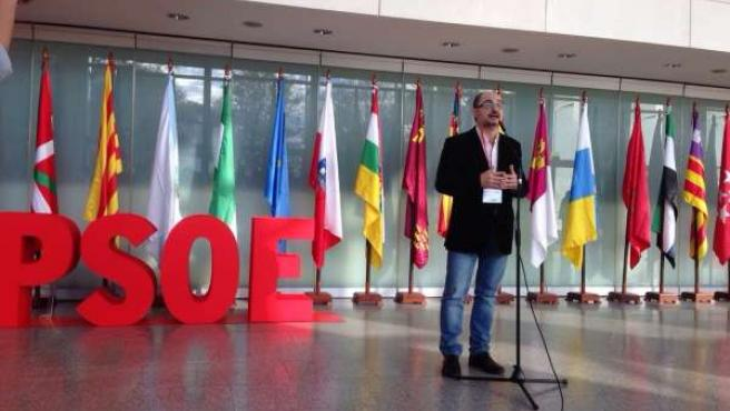Javier Lambán en la Conferencia Autonómica del PSOE.
