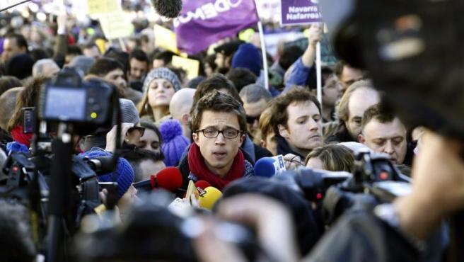 El 'número dos' de Podemos, Íñigo Errejón, en un momento de la Marcha del Cambio en el centro de Madrid.