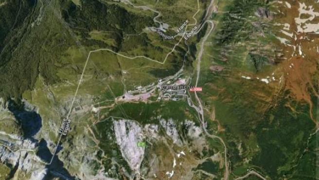 Vista vía satélite de Candanchú, en los Pirineos.