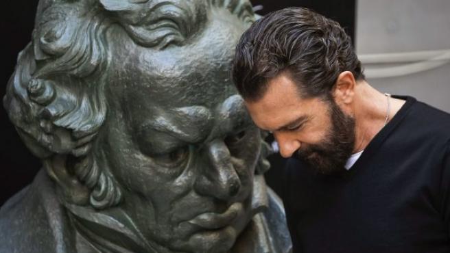 El actor, director y productor Antonio Banderas, en el encuentro con los medios con motivo del Goya de Honor que se le ha concedido.