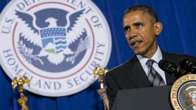 El presidente de los Estados Unidos, Barack Obama, durante la presentación de su proyecto presupuestario para el año fiscal 2016 en el Departamento de Seguridad Nacional, en Washington DC, Estados Unidos.
