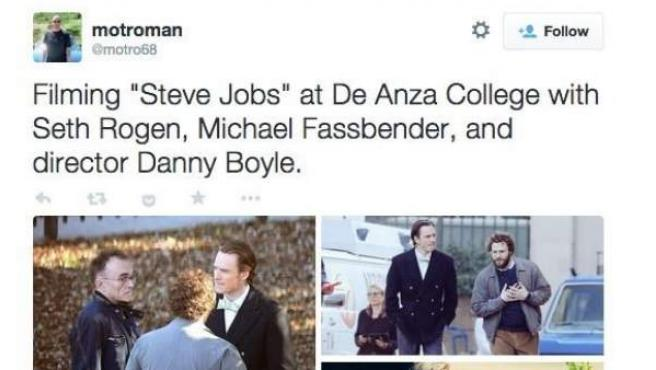 El usuario de Twitter @motro68 ha filtrado las primeras imágenes de Michael Fassbender como Steve Jobs.