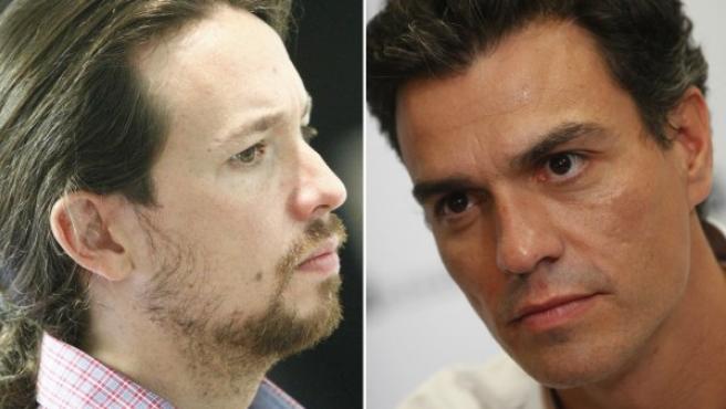 El líder de Podemos, Pablo Iglesias (izda), y el Secretario General del PSOE, Pedro Sánchez.
