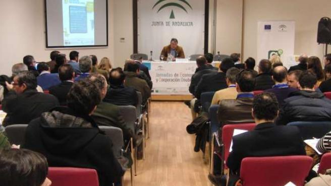 El delegado de Economía en Huelva, Eduardo Muñoz, en unas jornadas.