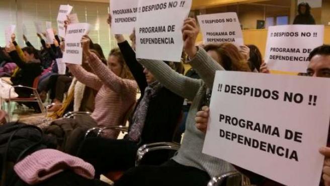 Protesta de los trabajadores de dependencia.