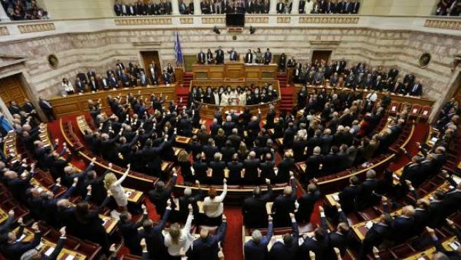 Vista de la ceremonia de toma de posesión de los nuevos diputados en el Parlamento en Atenas (Grecia).