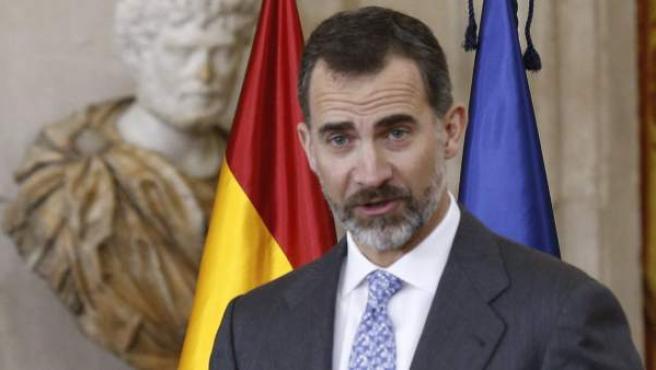 El rey Felipe VI, en los Premios Nacionales de Investigación del año 2014.